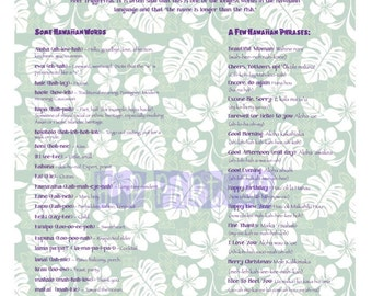 Luau Party Decoration - How To Speak Hawaiian Poster Printable, Vintage Style.