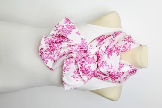White & Pink Floral Scarf - Fashion Scarf - Fabric Scarf - Women Shawl - Unique Scarf - Printed Scarf - Original Scarf - Boho Scarf