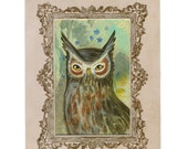 Horned Owl Original Victorian Style Painting in a Cabinet Card Frame