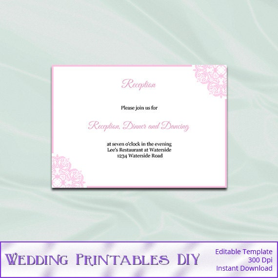 Wedding Enclosure Cards Template Blush By WeddingPrintablesDiy