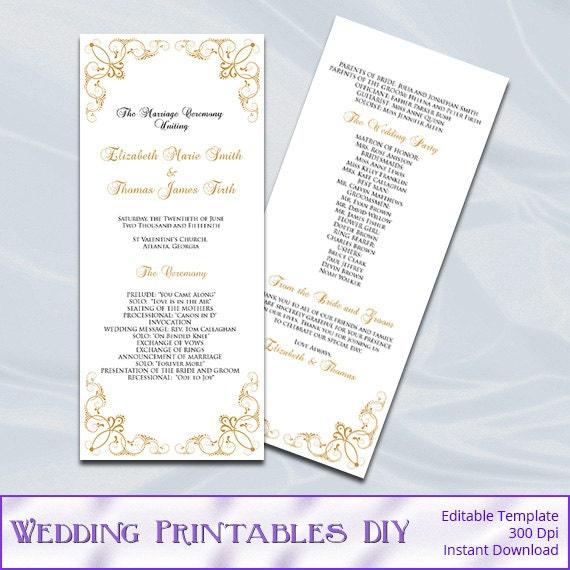 gold wedding program template printable tea length order of. Black Bedroom Furniture Sets. Home Design Ideas