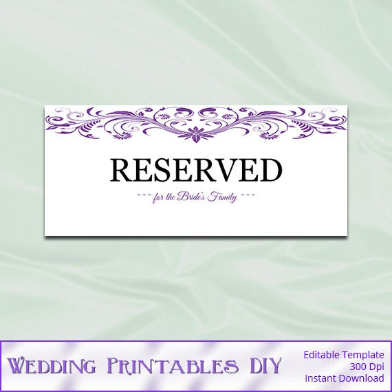 purple wedding reserved sign template diy by weddingprintablesdiy. Black Bedroom Furniture Sets. Home Design Ideas