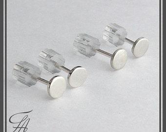 Minimalist Earrings, Flat Earrings, Disc Earrings,Dot Earrings, Post Earrings, Stud Earrings, Silver Earrings,Handmade Earrings, 6mm
