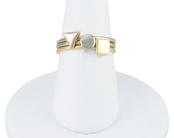Designer 14k Rose, Yellow and White Gold Stackable Ring Set Circle, Square, Triangle Trio by BrianG @ BrianGdesigns