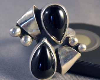Unique Black Onyx and Sterling Silver Ring