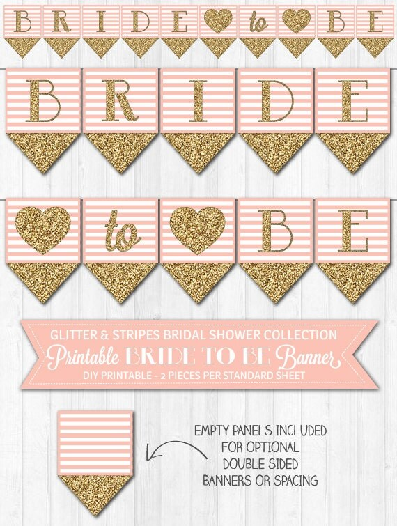 Bridal Shower Banner Blush Pink & Gold Glitter by ...