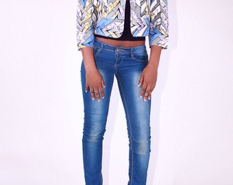 Blue & White African Tribal Print Crop Jacket sizes S M L