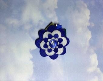 White and Blue Felt Flower Hair Clip