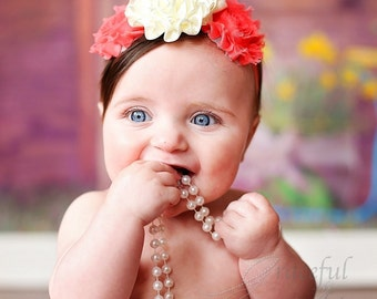 Baby Girl Head Band, Cream Coral Hairband, Birthday Headband - HB0008