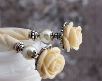 Bella Rosa - Ivory Pearl Rose Hairsticks - romantic victorian hair sticks - elegant hair accessory - BRHS - Free US Shipping