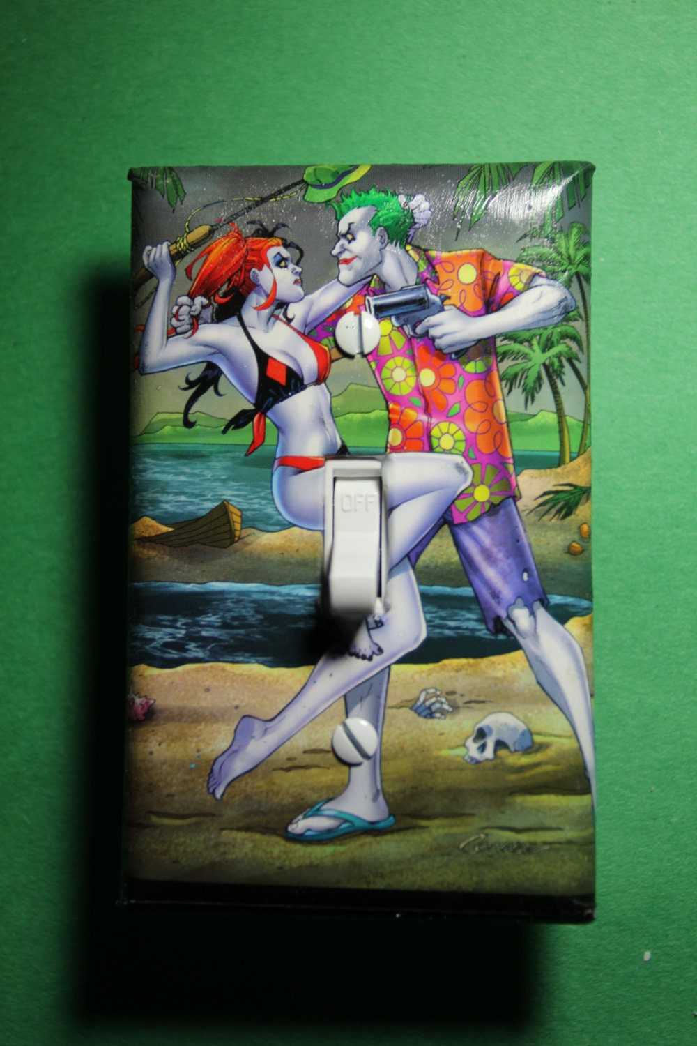Joker harley quinn honeymoon light switch plate by for Harley quinn bedroom ideas