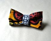 Handmade Red and Mustard Yellow African Batik Fabric Men's Adjustable Bow Tie