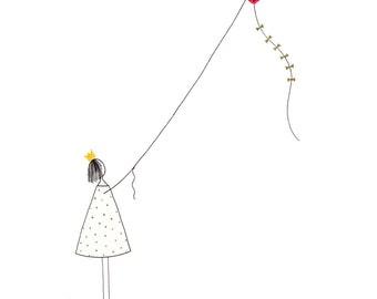 Postcard: Girl with a kite