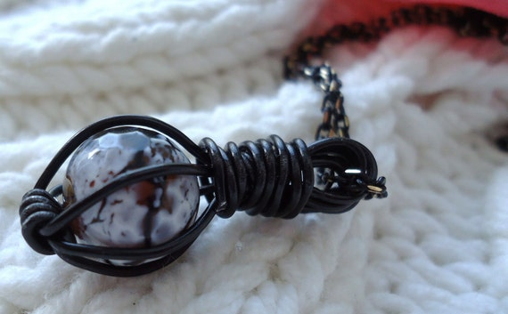 Caged Bead Pendant - Black Wire Pendant - Semi Precious Stone - Cracked Agate - Wire Wrapped - Spooky Jewelry - Halloween - Gothic Style