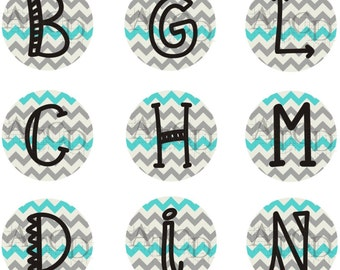 Teal and Gray Chevron Bottle Cap Images with Customization Available