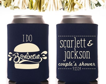 I Do Barbecue BBQ Couple's Shower Party Favors: Custom and Personalized Can Cooler Wedding Rehearsal Dinner Engagement