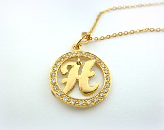 Initial Necklace, Custom Pendant GOLD Filled 14K ,letter necklace ,swarovski crystal , custom initial, custom letter