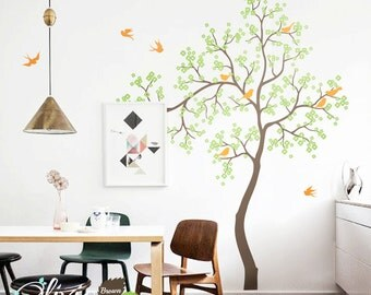 Baby nursery Blossom Tree vinyl wall decal, removable tree sticker with birds -NT002