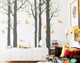 Large  Forest Tree vinyl wall decals, birds stickers, home decor mural -NT006