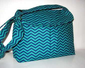 Green and Blue Chevron Cross Body Messenger Bag, Cross Body Handbag / Shoulder Bag, Gifts For Her, Made To Order