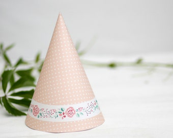 Printable party hat. Birthday hat for the girls. Instant download PNG file.