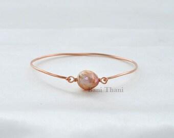 Handmade Bracelet, Fresh Water Pearl Bracelet, Gemstone Bracelet, Pink Fresh Water Pearl Rose Gold Sterling Silver Bangle #1401