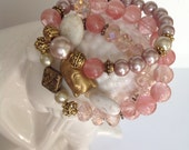 Pink Pearl,White Stone and Cherry Quartz beaded stretch bracelet set of three with Gold Buddha 113
