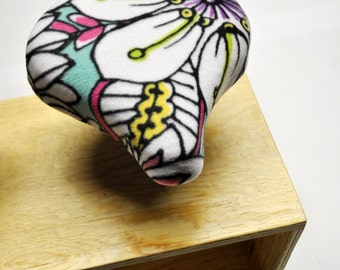 Floral Brights Stripe Bicycle Seat Cover