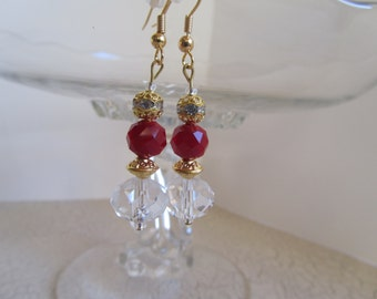 Red Crystal Earrings,Red Earrings, Gold Earrings, Crystal Earrings, Bridal Jewelry, Birthday Gifts Women,Mothers Day Gifts,Red Prom Earrings