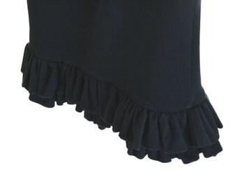 Skirt  Maxi, skirt Tube, long Skirt, tube Dress, black color with two ruffles at the bottom,  Vintage 80s (Puente Aereo)