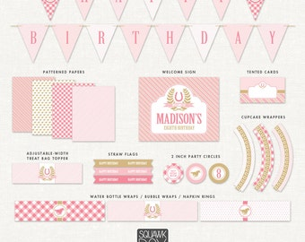 Horse Birthday Party Decorations – Pink – Printable Party Kit by Squawk Box Studio