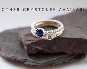 Beaded Gemstone & Stamped Sterling Silver Ring Trio ~ statement ring, stacking ring, personalise, initial, gift