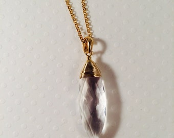 Wire Wrapped Crystal Pendant Gold Fill Necklace
