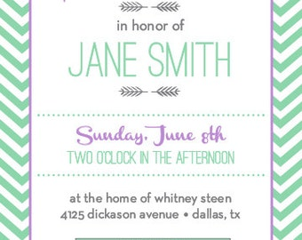 Classic Chevron Bridal Shower Invitation