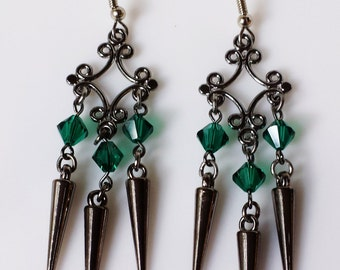 Emerald Halls Crystal and Spike Earrings, Emerald Green Swarovski Crystal and Gunmetal Spike Earrings