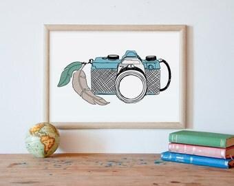 vintage camera, art print, instant download, camera drawing, camera wall art, camera wall decor, camera art, printable art, camera poster