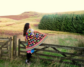 Sleeveless granny square colourful crochet jacket