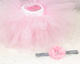 Blush Pink Tutu Set, Baby Tutu and Headband Set, Birthday Outfit,  Cake Smash, Flower Girl, Newborn Photo Prop, Ballerina Tutu,