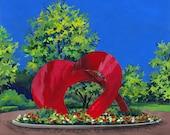 Naperville Illinois - Painting the Town Series  - Riverwalk Sculpture - Ceramic Tile Coaster or Decorative Art Work