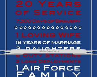 Air Force Custom Print. Great Gift Idea for Retirement!