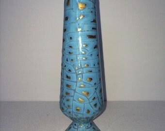 Vintage Aqua Bud Vase with Gold Detail