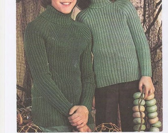 Unisex Childrens Sweaters, Cable Knit Childrens Jumper, Boys Cable Knit Jumper,Childrens Turtle Neck Sweater. Knitting Pattern Only.
