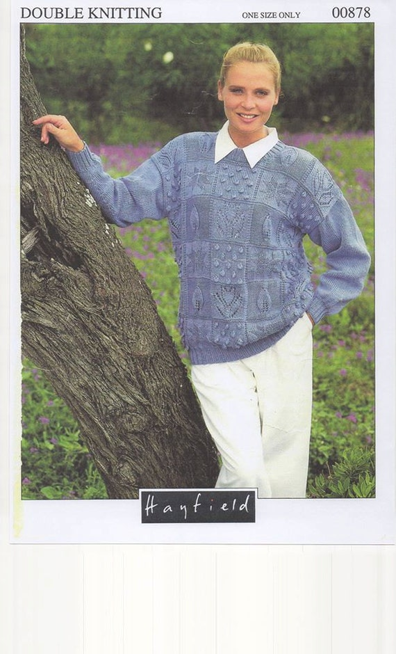 Knitting Patterns Ladies Jumpers Double Knit : Ladies Double Knitted Sweater Womens 80s Jumper Pattern