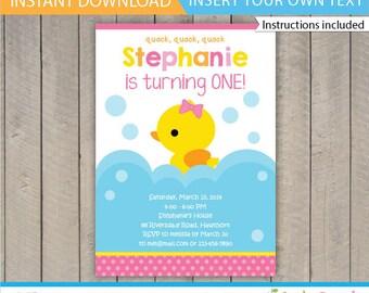 Rubber Duck invitation / Duck invitation / Rubber Duck Birthday / Rubber Duckie Birthday / Duck Baby Shower Invite / INSTANT DOWNLOAD