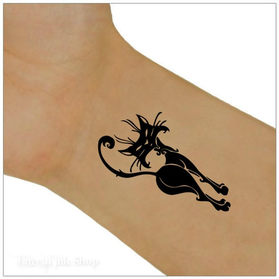 Tatouages de poignet tatouage temporaire 1 chat - Tatouage chat noir ...