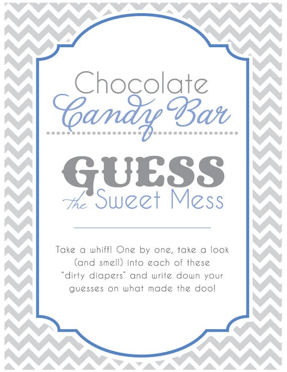 Nice Baby Shower Sign For Guess The Sweet Mess Candy Bar Game! Dirty Diaper Game!  Printable! Blue And Gray! Ready To Print!