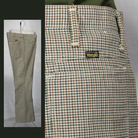 Mens Pants 1960s Wrangler Checkered Skinny 32 Waist 60s Mod