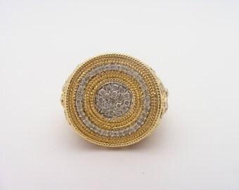 2.00 Carat Total Weight Diamond Cluster Ring. 14K Yellow Gold