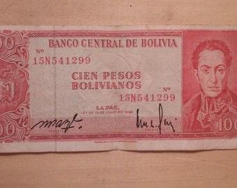 Banco Central De Bolivia - 100 Pesos Bolivianos - 1962