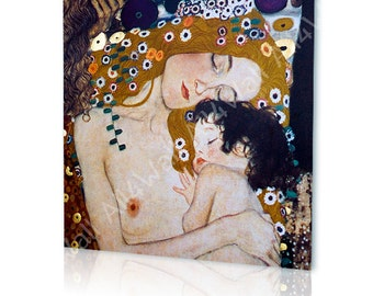 "Canvas Print ""Mother and Child"" By Gustav Klimt wall art photos Giclee Artwork fine art decor Repro print gallery poster reproduction"